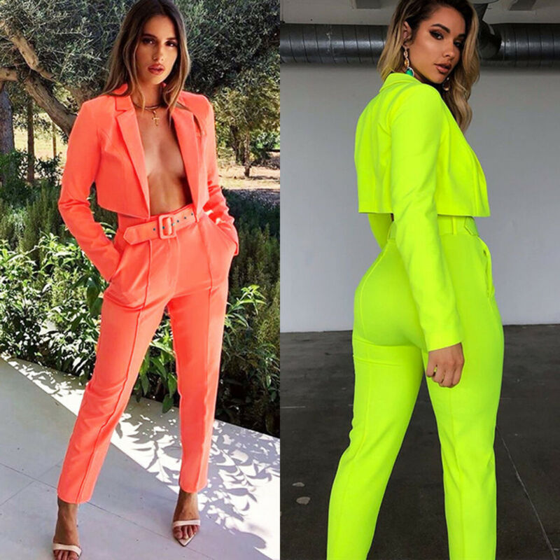 2019 Womens 2pcs Clothes Sets Long Sleeve Tracksuit Tops + Long Pants With Belt Outfits Party Streetwear Office Ladies OL Suits