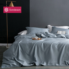 Sondeson Luxury Beauty 100% Silk Gray Bedding Set 25 Momme Silk Healthy Skin Duvet Cover Bed Linen Single Double Queen King Set