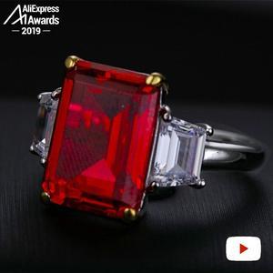 Image 2 - 14*10mm szmaragdowy krój S925 srebrny pierścionek SONA diamentowy szafirowy szafir ametystowy rubin
