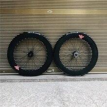 700 C Track Fixie Bike Velg 70Mm Voor Achter 32H Hub Single Speed Fiets Wielset Fixed Gear met Banden Fietsen Legering Zwart