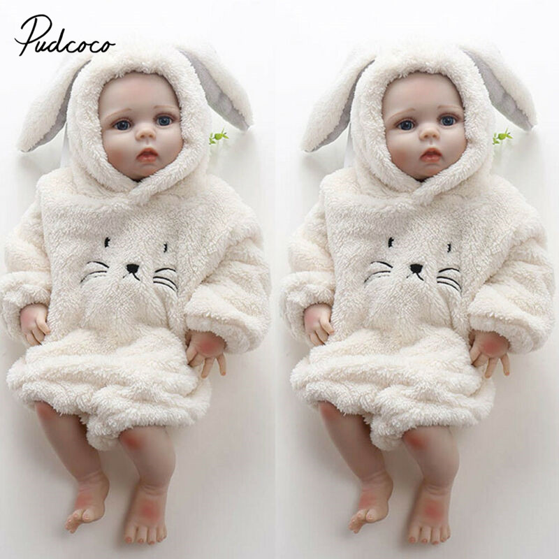Pudcoco Cute Cat 3D Ear Hoodies Bodysuit For Newborns Baby Boys Girls Clothes Fluffy Winter Jumpsuit Plush Clothes Outfit