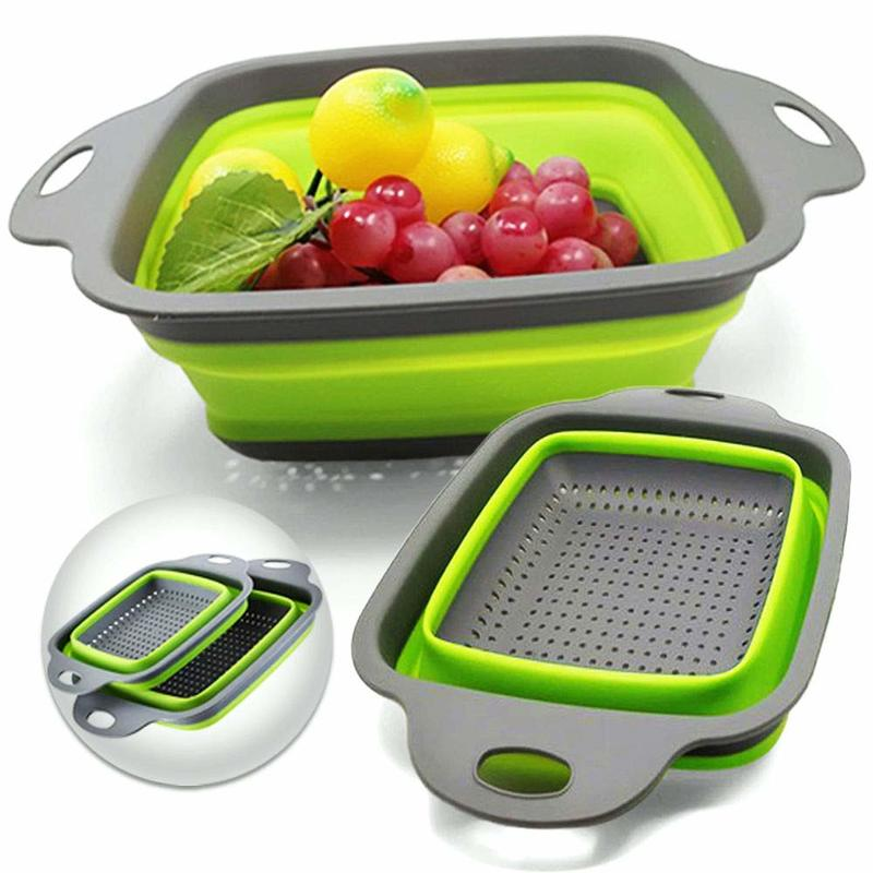 Folding Kitchen Colander Collapsible Silicon Food Strainer Square Round Draining Pasta Food Grade Vegetable Fruit Washing Basket|Colanders & Strainers|   - AliExpress