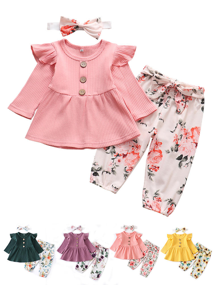 Infant Clothing Outfits Pants Headband Long-Sleeve Knitting Floral-Print Newborn Baby-Girl