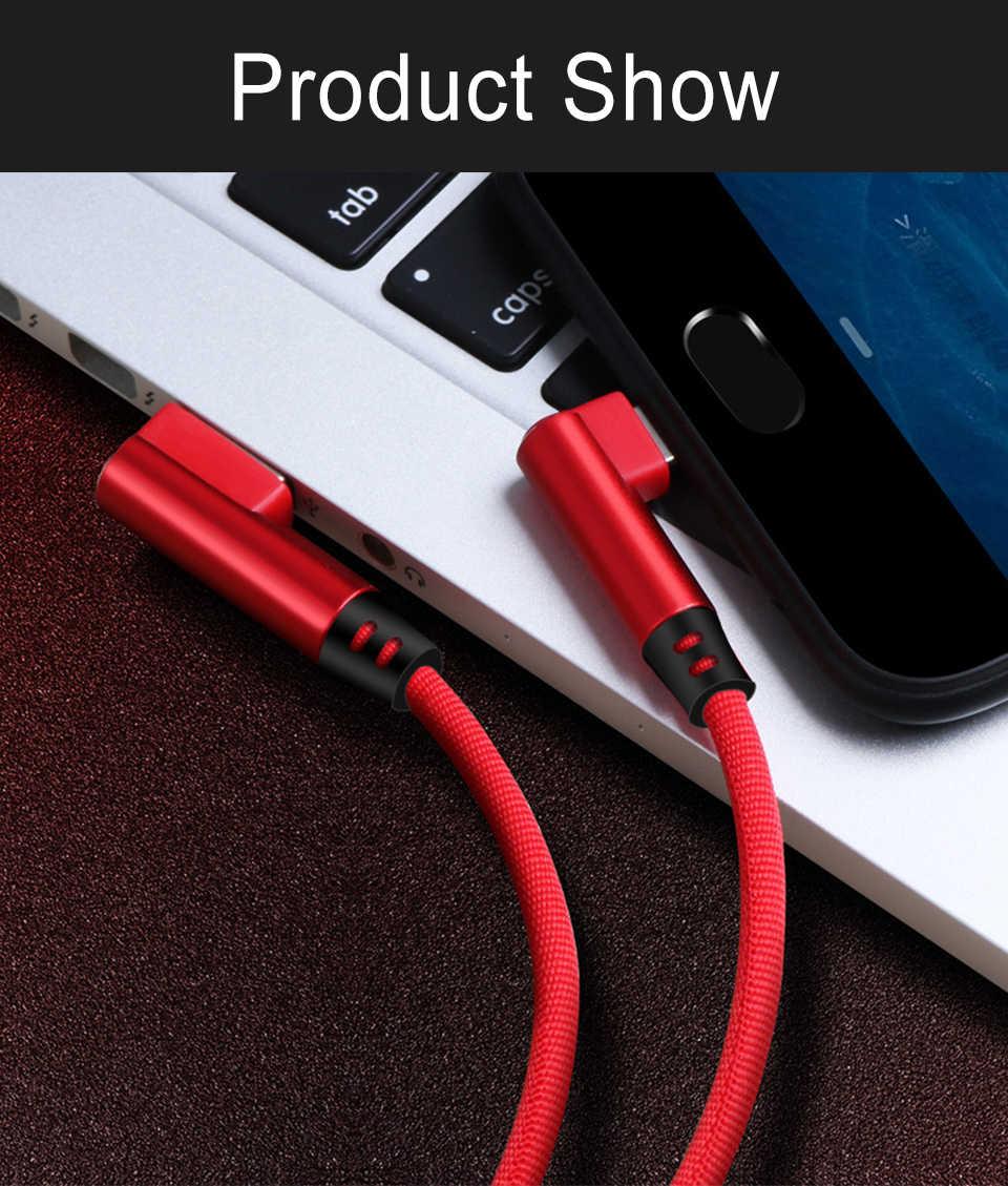 Loại C USB Điện Thoại Di Động Cáp Nylon Dệt 90 Độ Cáp Dữ Liệu Cho Huawei Note 8 Samsung Galaxy Xiaomi Redmi sạc Nhanh Dây