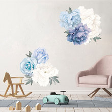 Blue Peony Wall Stickers Bedroom Living room TV Background DIY Vinyl Plants Wall Decals Eco-friendly Removable DIY Wall Murals
