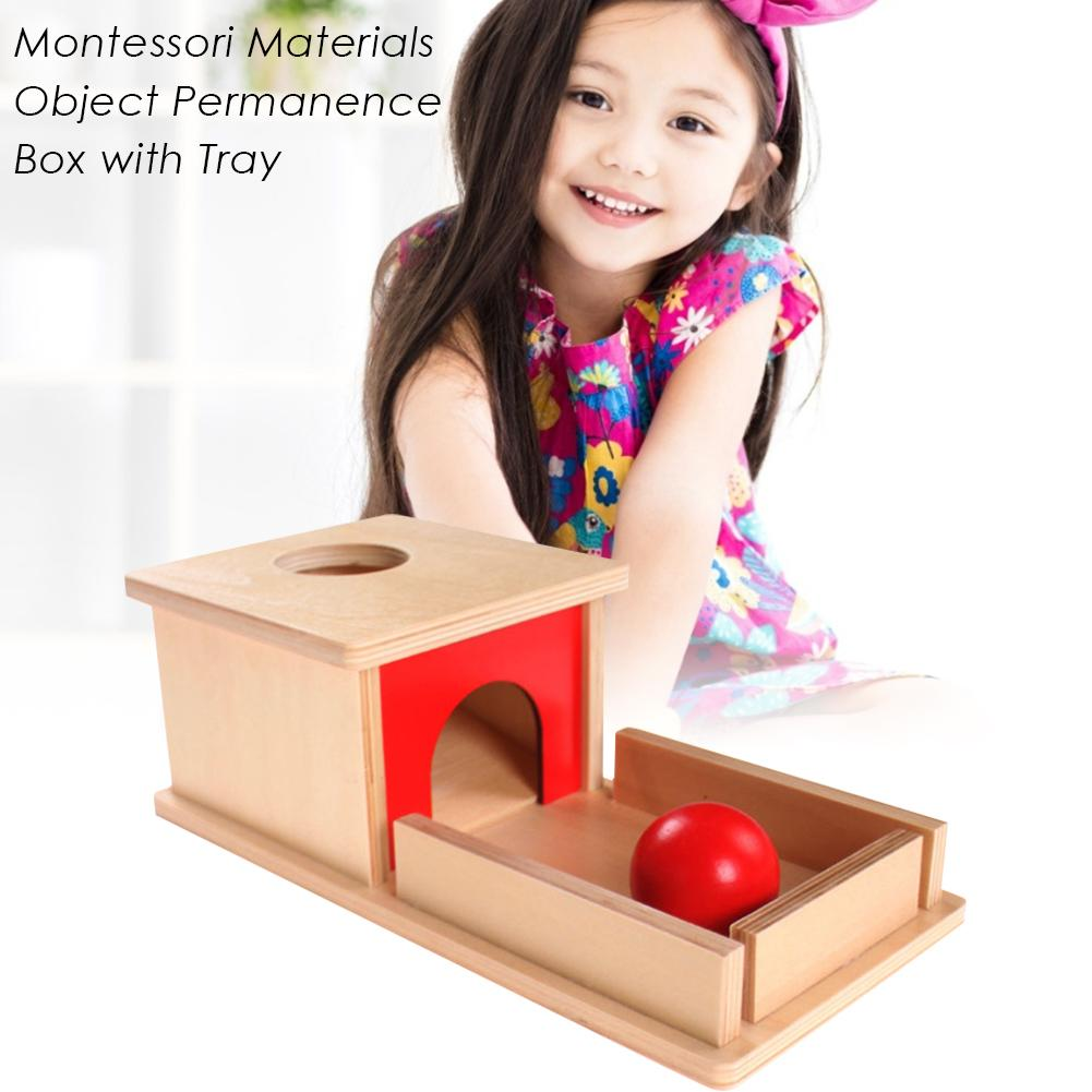Permanent Target Wholesale 100%green Paint Wood Educational Toy Professional Montessori Material Object Permanence Box With Tray