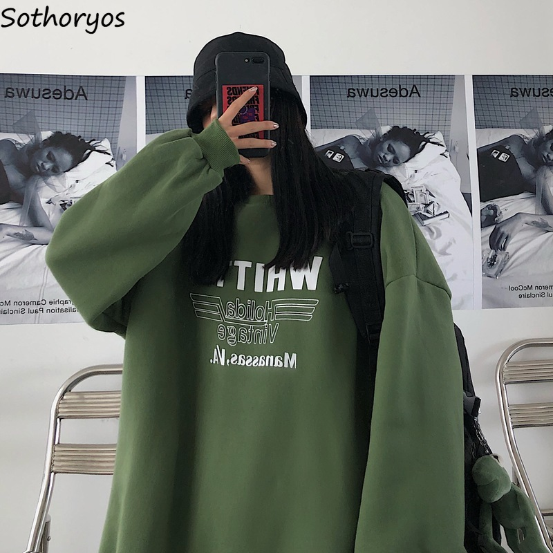 Hoodies Women Plus Velvet Thicker BF Student Loose 2XL Chic Womens Sweatshirt Harajuku Letter Printed All-match Outwear Ulzzang