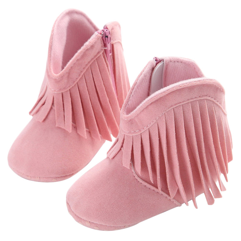 Lovely Fringe Baby Girl Winter Boots Leather First Walkers Soft Bottom Anti Slip Newborn Baby Girl Shoes Winter Autumn Boots