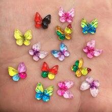 Новые 80 шт разноцветные бабочки из смолы 10 мм с плоской задней частью Аппликации из горного хрусталя DIY Свадебные скрапбукинги SF492