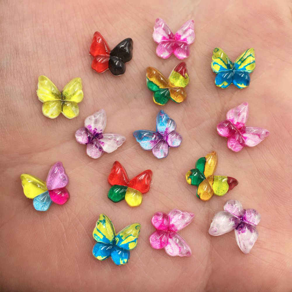 Nuevo 80 Uds resina mixta 10mm mariposas coloridas espalda plana strass apliques DIY boda scrapbook craft SF492