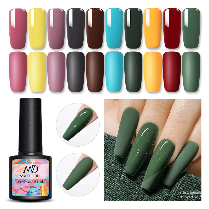MAD DOLL 1 Bottle 8ml Fall Winter Series Gel Nail Polish Red Green Mixed Colors Long Lasting Soak Off UV Gel Nail Varnish