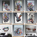 Уличные граффити искусство любовник поцелуи холст живопись плакаты и принты настенные художественные абстрактные ручная картина для гост...