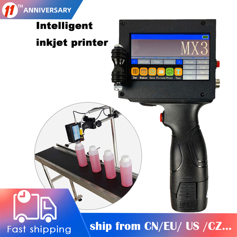 LED Touch Screen Handheld Inkjet Printer Intelligent USB Production Date Food Packaging Code Machine Batch Number