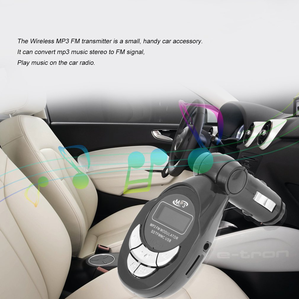 4 In 1 Car Vehicle MP3 Player Wireless FM Transmitter Audio Modulator USB CD MMC With Remote Control