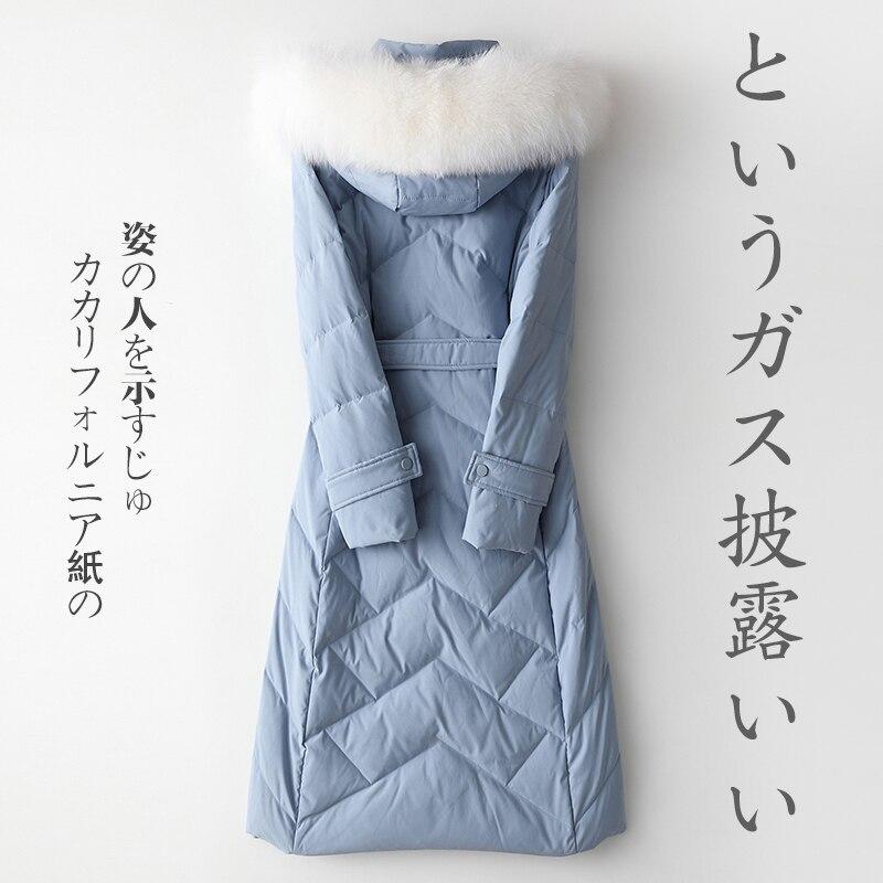 Autumn Winter Women's Down Jacket Fox Fur Collar Hooded Long Coat Female Puffer Womens Jackets 2020 TLR2181 KJ2468