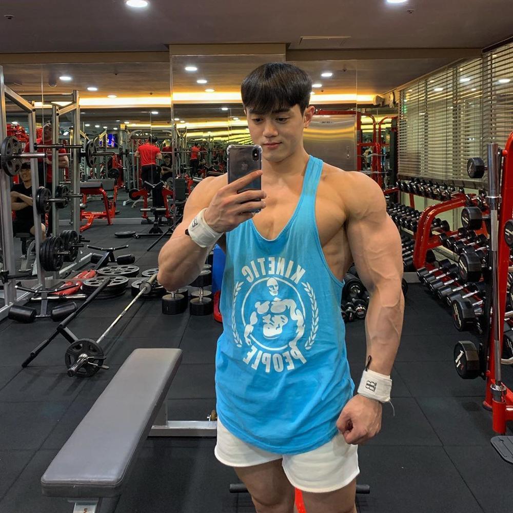 2020 Gyms Sleeveless Shirt Men Bodybuilding Tank Tops Fitness Workout Cotton Print Singlet Stringer Undershirt Male Casual Vest