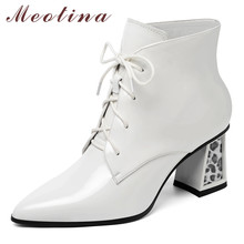 Meotina Winter Ankle Boots Women Natural Genuine Leather Chunky High Heel Short Boots Lace Up Pointed Toe Shoes Lady Fall 34-39