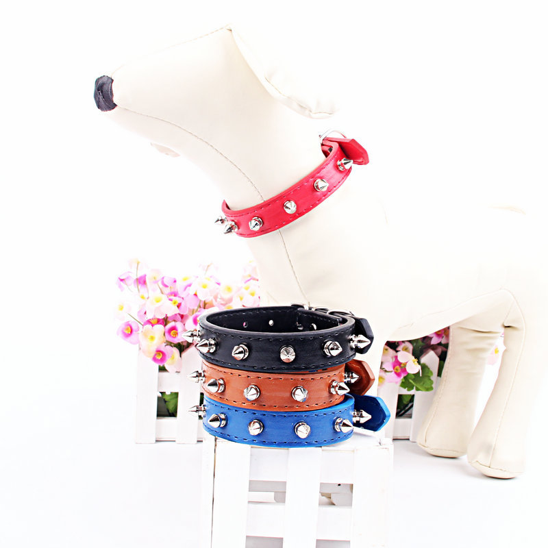Dog Neck Ring Mushroom Nail PU Pet Collar 2cm Small Dogs Collar Teddy Pomeranian Neck Ring
