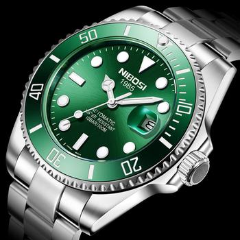 NIBOSI Mechanical Watch Men 10Bar Tourbillon Luxury Reloj Sapphire Watches Automatic Sport Wristwatch Two-Tone Relogio Masculino