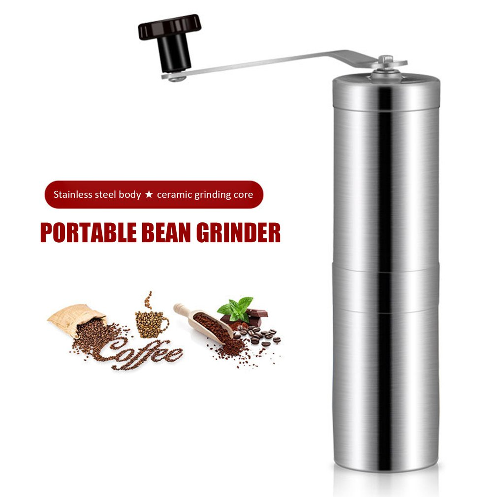 Portable Manual Coffee Grinder Stainless Steel Ceramic Burr Bean Mill Wheel Design Hand Coffee Maker