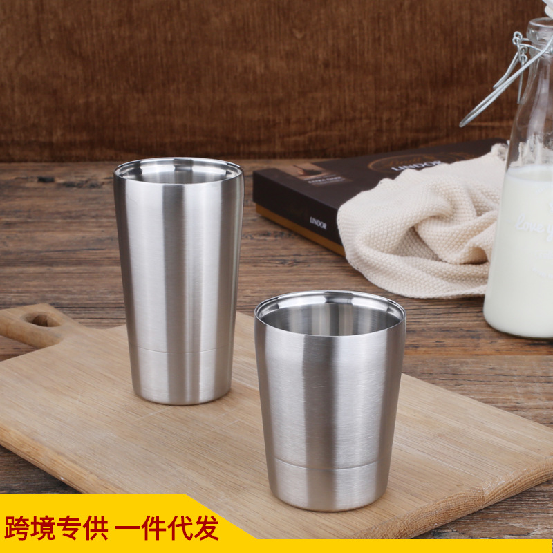 Hot Selling Korean Style 304 Stainless Steel Double Layer Cup Glass Beer Steins Coffee Cup Gift