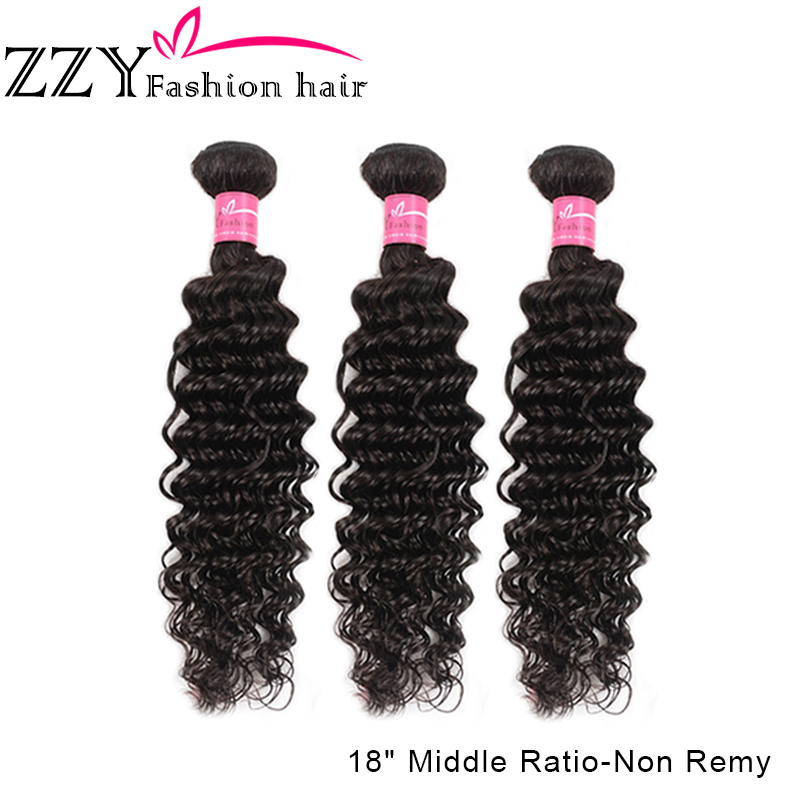 ZZY Fashion Hair Deep Wave Bundles Brazilian Hair Bundles Human Hair Extensions 3 Bundles Deal Non-remy Hair Weave Bundles