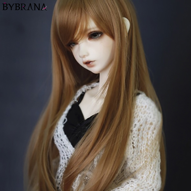 Bybrana Fashion Style Fair Size 1/3 1/4 BJD SD MSD Wigs Long Brown High Temperature Fiber Hair For Dolls Accessories