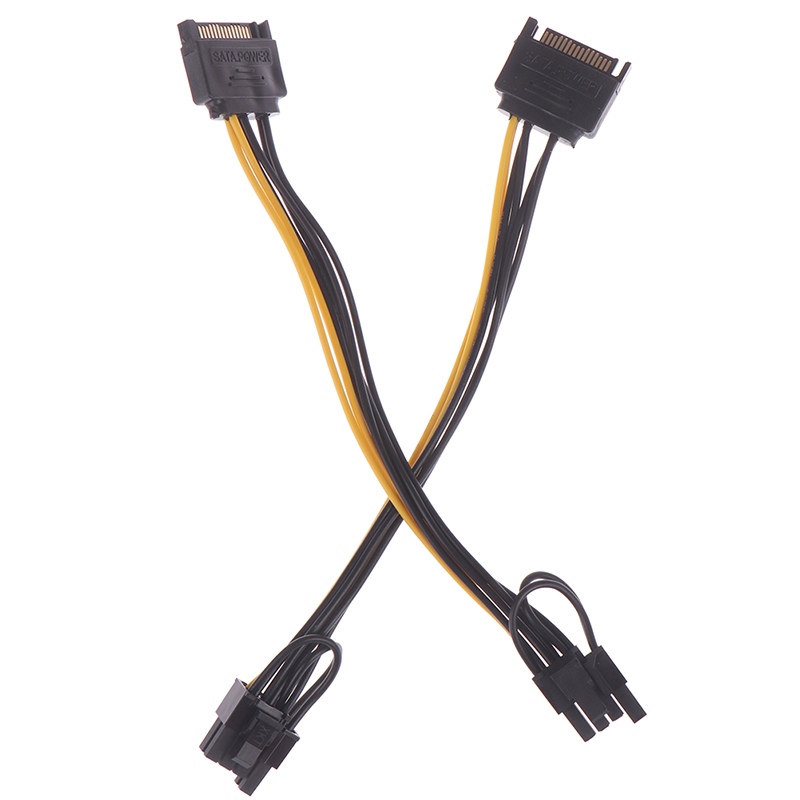 1pc 15pin <font><b>SATA</b></font> Male to 8pin(<font><b>6</b></font>+2) PCI-E <font><b>Power</b></font> Supply <font><b>Cable</b></font> 20cm <font><b>SATA</b></font> <font><b>Cable</b></font> 15-<font><b>pin</b></font> to 8 <font><b>pin</b></font> <font><b>cable</b></font> Wire for Graphic Card image
