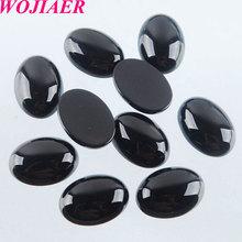 WOJIAER טבעי שחור Agates קרושון חרוזים סגלגל CAB 10x14mm חצי יקרה מתאימים בעבודת יד תכשיטי נשים גברים 50PCS PU8002