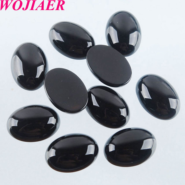 WOJIAER ธรรมชาติสีดำ Agates Cabochon ลูกปัดรูปไข่ CAB 10x14 มม.Semi Precious หิน Handmade Jewelry 50PCS PU8002