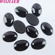 WOJIAER perles dagates noires naturelles Cabochon cabine ovale 10x14mm pierres semi précieuses ajustement bijoux faits à la main femmes hommes 50 pièces PU8002