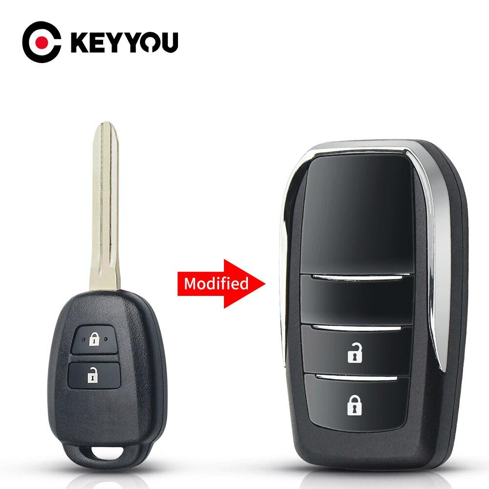Модифицированный чехол для ключа KEYYOU для Toyota Highlander Tacoma Rav4 Sequoia RAV4 Tundra 2/3 кнопки 2015 2016 2017 2018 2019