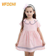 VFOCHI 2019 Brand New Girl Dresses Summer Casual Girls Clothes Preppy Style Baby Dress Solid Color 2-8Y