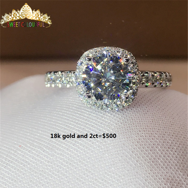 100%  Gold Ring D Color VVS Composition Moissanite Diamond Ring With National Certificate MO-00107-02
