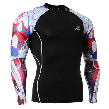 Jazda na rowerze koszulka męska koszulka Crossfit siłownia mężczyzna rashguard odzież sportowa kompresja koszulka fitness rower jazda na rowerze jersey sportowa koszula mężczyzn tanie i dobre opinie Life on track spandex Geometryczne Oddychające Pełna Pasuje mniejszy niż zwykle proszę sprawdzić ten sklep jest dobór informacji
