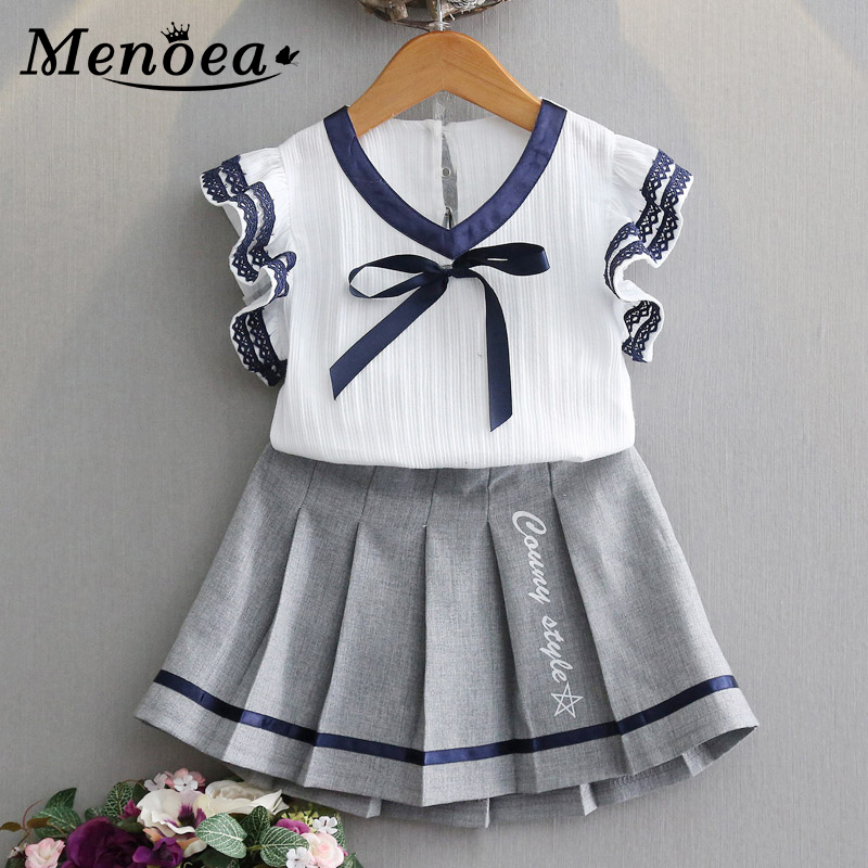 Menoea Girls College Style Suits 2020 New Summer Children Clothes Cute Bow Tops + Short Skirts 2pc Kids Clothes Sets