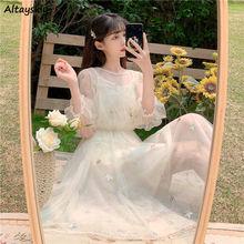 Mesh Dresses Women Korean Style Patchwork Sequins Sweet Elegant Trendy Leisure Ulzzang Girls Summer Holiday O-neck Party Vestido