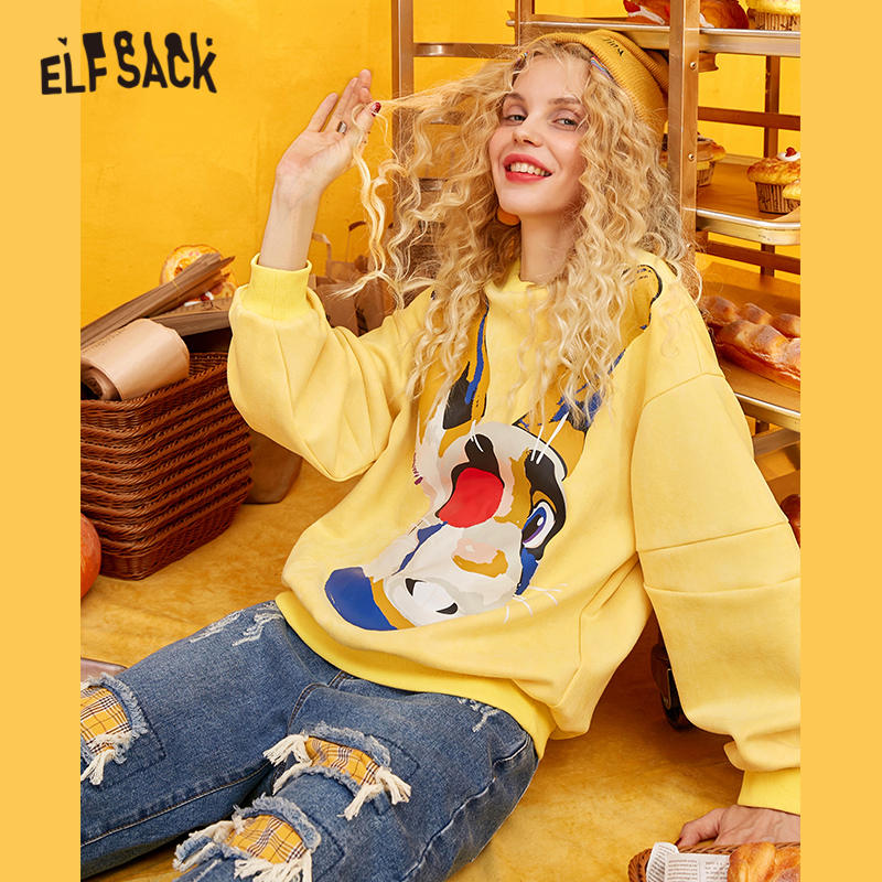Image 2 - ELFSACK Yellow Solid Cartoon Print Casual Pullover Sweatshirt Women 2020 Winter Blue Korean Lantern Sleeve Female Daily TopsHoodies & Sweatshirts   -
