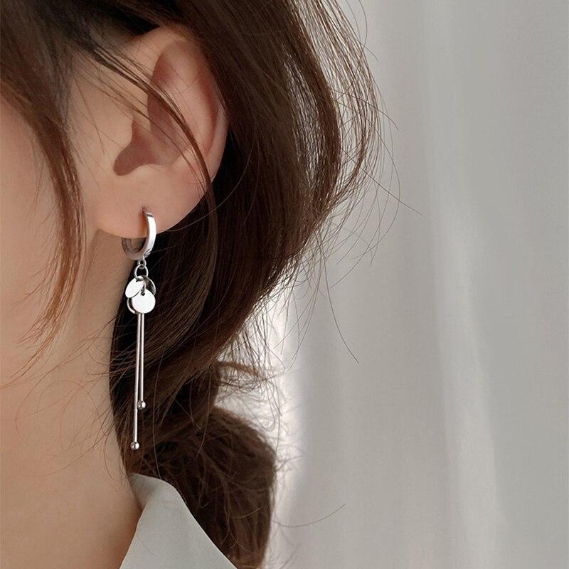XIYANIKE 925 en argent Sterling nouveauté rond marque gland longues boucles d'oreilles tempérament Sexy mode INS bijoux faits à la main 3