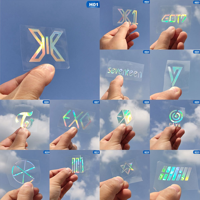 K-POP ASTRO DAY6 CIX EXO TWICE GOT7 X1 SEVENTEEN Laser PVC Sticker Creative Rainbow Color Sticker For Decoration Laptop Phone