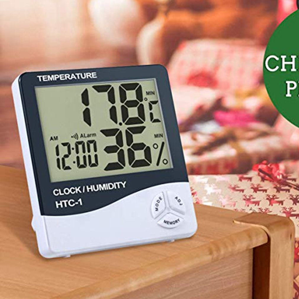 Htc-1 Large Screen Home Thermometer Hygrometer High Precision Indoor Electronic Thermometer With Electronic Alarm Clock