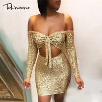 Tobinoone Autumn Glitter Sexy Two Piece Set Solid Strapless Top And mini skirt Women Set Party 2 Piece Set Women Outfits Set