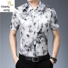 Summer Business Casual 100% Short Sleeve Men Top Quality Loose Vintage Style Silk Printed Formal Shirt Chemise Homme(China)