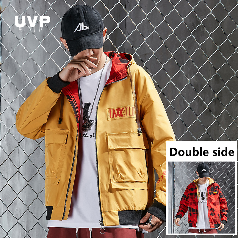 Double Side Men's Windbreaker Jacket For Men Streetwear Male Outerwear Casual Men's Winter Black Jacket Hooded Clothing Hip Hop