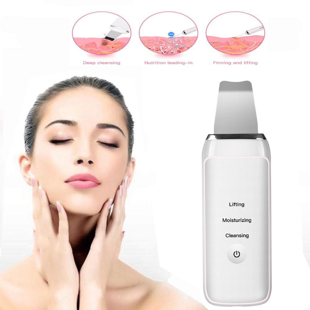 Skin Scrubber Facial Skin Scrubber Electric SPA Gentle Blackhead Remover Ultrasonic Facial Cleaner Spatula Face Lifting Massager