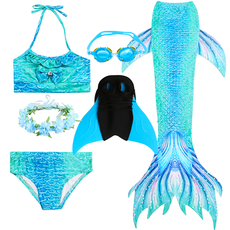 Little Girls Swimsuit Kids Bathing Set Summer Beach Mermaid Tail Swimming Outfit Clothes Children Pool Party Costumes with Fin