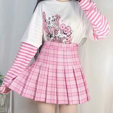 Mulheres harajuku doce xadrez saia verão feminino bonito macio cintura alta mini kawaii rosa saia plissada menina
