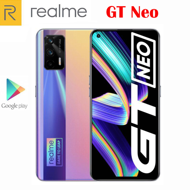 Original Official New Realme GT Neo 5G Smartphone MTK1200 6.43inch 120Hz Super AMOLED 64MP Camera NFC 4500Mah 50W Flash Charger 3