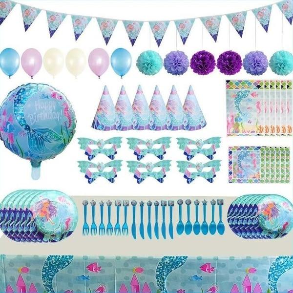 Serves 16 Mermaid Birthday Party Supplies Pack