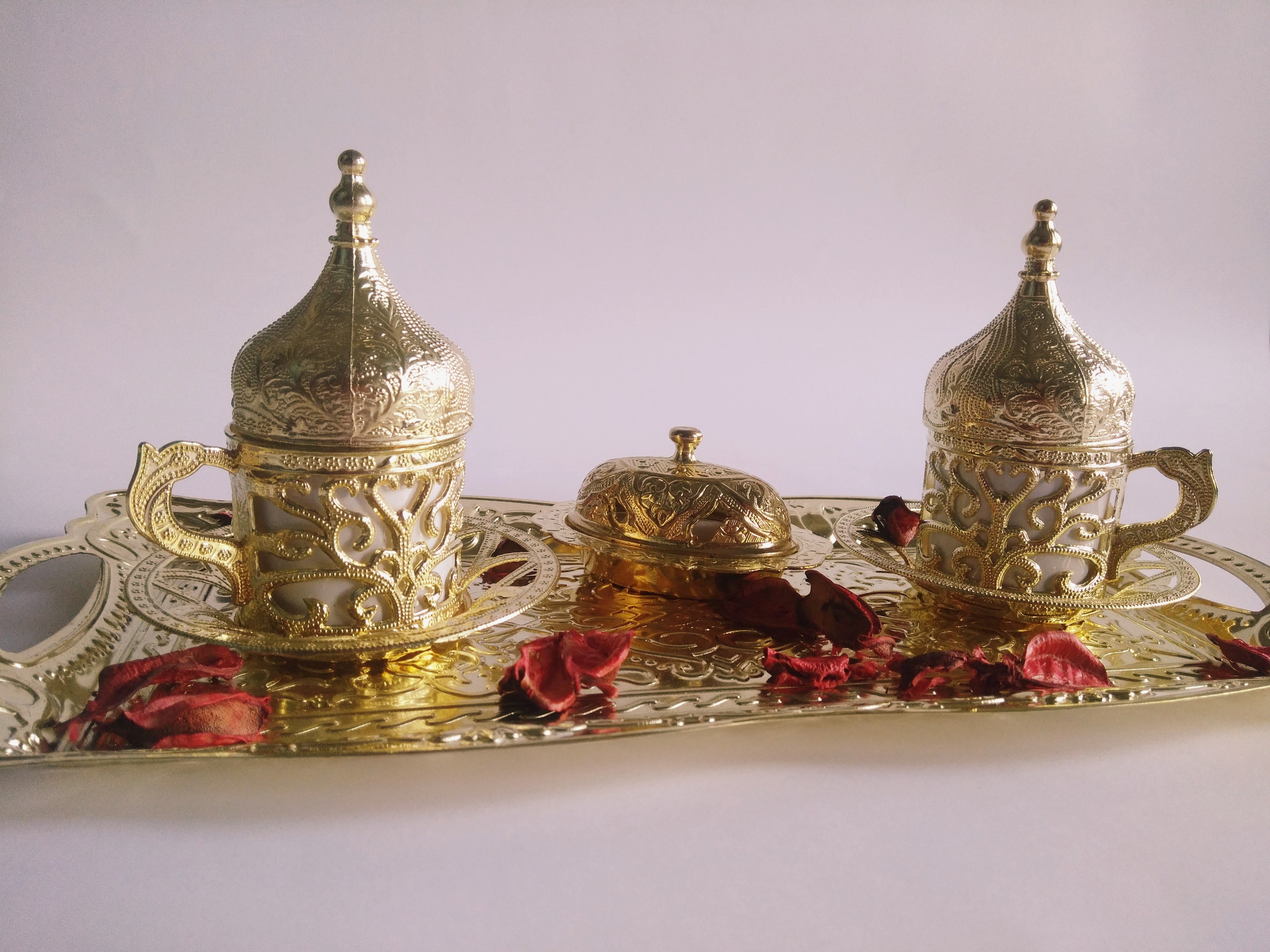 Turkish Coffee Set Golden Traditional Coffee Double Coffee Set Authentic Coffee Set